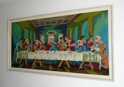 Vintage Large Framed Cross Stitch / Tapestry of The Last Supper. Wirral Collect