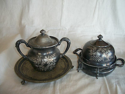 3 Antique Forbes Silver Co. Quadruple Silverplated #173 Butter Server Bowl Tray