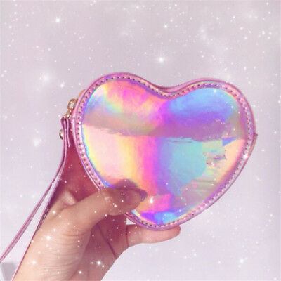 Women Heart Design Small Hologram Wallet Laser Small Coin Purse With Handle 8C