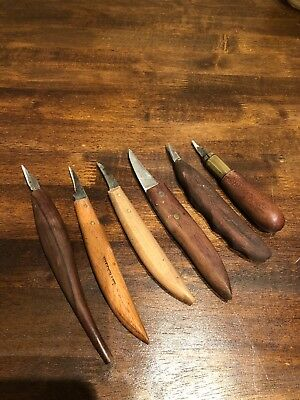 Vintage Woodcarving Tools Mixed Lot Of 6 Wood Handles