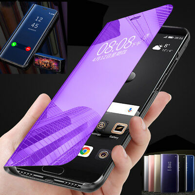 Samsung Galaxy J6 Prime J2 J5 J7 Clear View Mirror Touch Leather Flip Case Cover