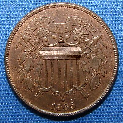 *very Stunning Looking 1865 Two Cent Piece - Estate Fresh*