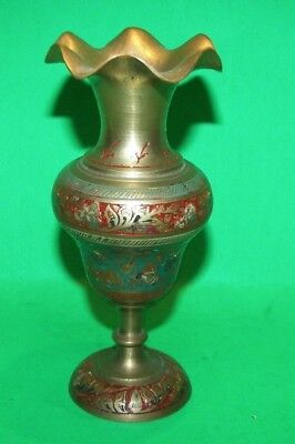 """Vintage ~ Hand Painted Decorative Solid Brass 5"""" Flower Vase ~ Made In India"""