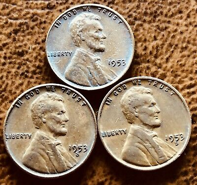 1953 PDS Lincoln Wheat 95% Wheat Penny Set
