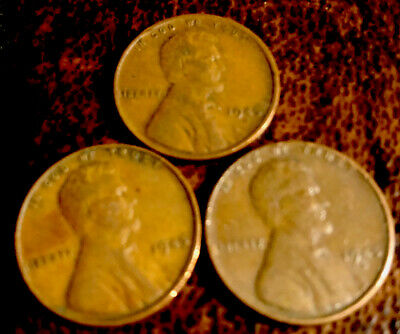 1945 PDS Lincoln Wheat 95% Copper Penny Set