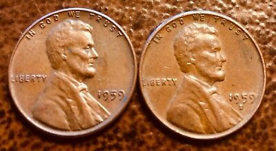 1959 P D Lincoln Penny Copper Alloy Set Circulated.