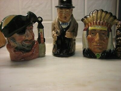 Lot Vintage Toby Mugs North American Indian, Churchill, Pirate