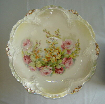 """Antique Pink/Yellow Floral Gold Textured Porcelain 10.5"""" Salad Bowl (Germany)"""