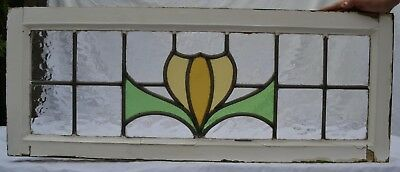 British leaded light stained glass window panel. Above door size! R767j