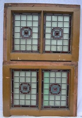 2 British leaded light stained glass window panels. R832. WORLDWIDE DELIVERY!