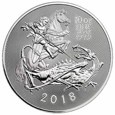 2018 Royal Mint Valiant St. George 10 oz .9999 Silver Coin NEW Release in the UK