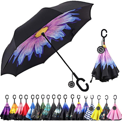 Inverted C-Shaped Handle Umbrella Double Layer Reverse for Car Outdoor Use by US