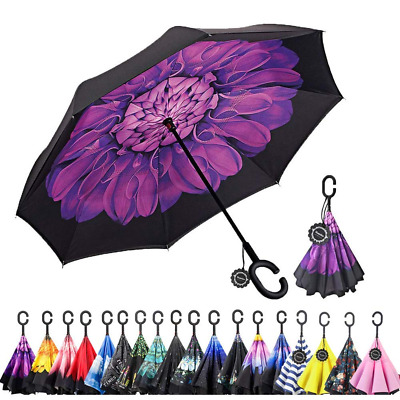 Inverted C-Shaped Handle Umbrella,Double Layer Reverse Windproof UV Protection