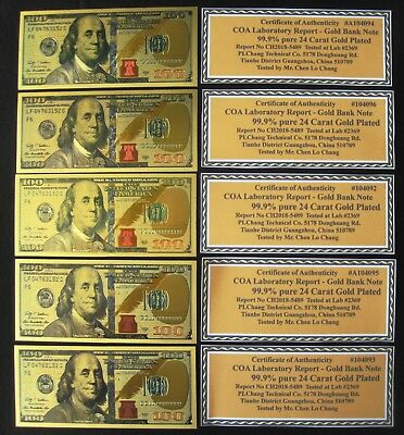 5 (Five) 24K Gold Plated $100 Dollar Bill's New Style Certificate's! Free Ship!