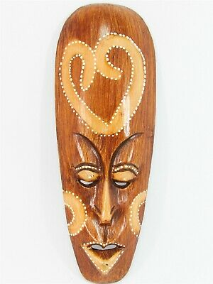 """Tribal Mask w/ Heart 12"""" Wooden Hand Carved & Painted Bali Indonesia Wood Brown"""