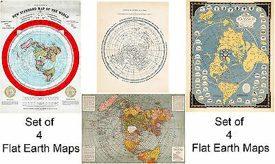 Set of 4 Flat Earth Large Wall Maps Alexander Gleason Historic Vintage Poster