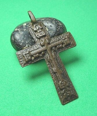 Ancient Bronze Cross Wearable Pendant Antique Rare C30