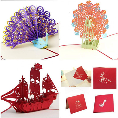3D Happy Birthday Cards Handmade Greeting Card Pop Up Peacock Boat Tower MEW US