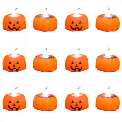 Pack of 12 Flameless Candles Halloween LED Light Battery Operated Pumpkin NEW US