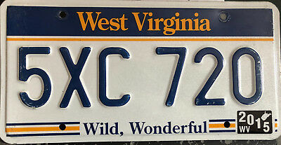 expired West Virginia passenger car license plate