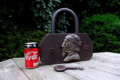 Antique Very Large Padlock With One Key Working Order Jewish Art Design 6.5kg
