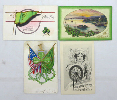 Lot of 4 St Patricks Day Vintage Postcards