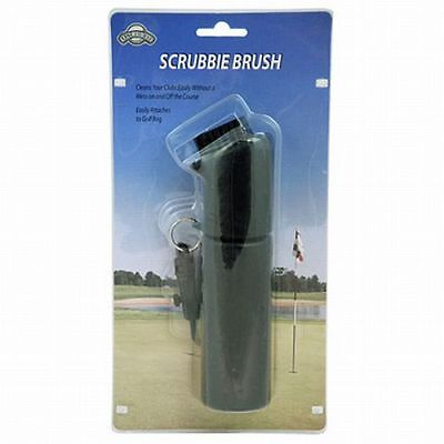 On Course Scrubbie Brush (Black, Easily Attaches to Golf Bag) NEW