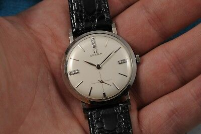 NOS Vintage Omega 14k Solid White Gold Gent's Watch W/ Factory Diamond Dial