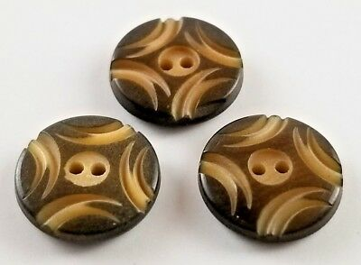 3 Small Vintage Vegetable Ivory Buttons Carved Two Hole Sew Through