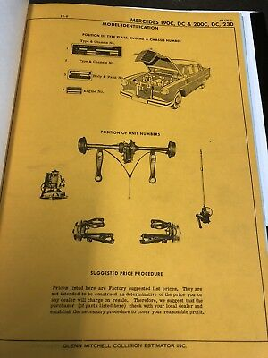 Vintage Mercedes Benz Damage Repair Manual 190C DC 200C 219 220S Parts Book 1963