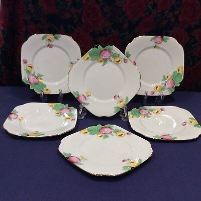 """Stunning Art Deco Roslyn Hand Painted Side Plates """"King Cup"""" Flowers, Set Of Six"""