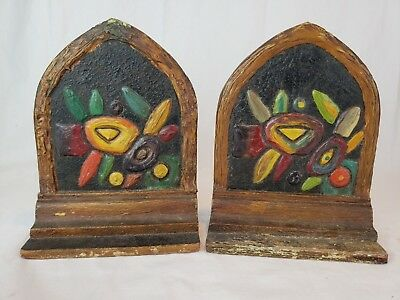 Mission Arts Crafts Gilded Oak Arch Bookends Painted ends Stained Glass unique