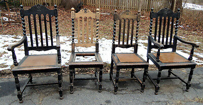 4 Wonderful Antique Barley Twist Rope Turned Oak Jacobean Chairs