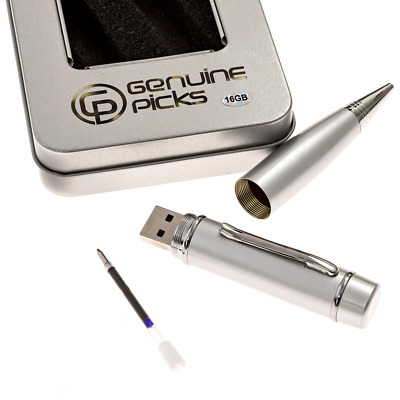 Executive Ballpoint USB Pen with 32gb Flash Drive Fancy Silver Gift Box NEW US
