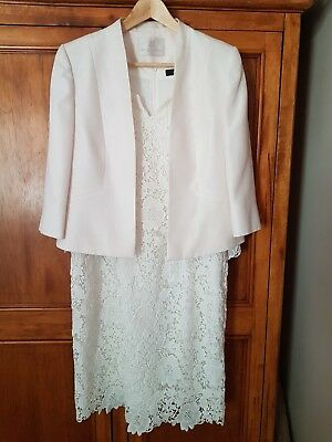 Mature Cream Wedding Outfit - Jacques Vert & Comma UK 16/18, Dress and Jacket