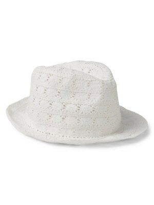 Baby GAP Girls Crochet Fedora Hat White M L 4 5 years NWT  20 2d58a195a064