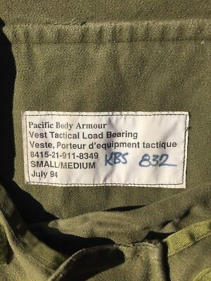 Tactical Load Bearing Vest Pacific Body Armor Dated July 94 No Plates