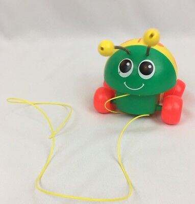 Vintage 1982 Fisher Price Lady Bug Pull String Along Toy 695 Orange Green Yellow