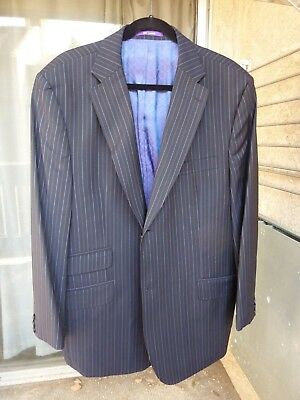 Ted Baker Endurance sport coat jacket wool navy pinstriped 46R