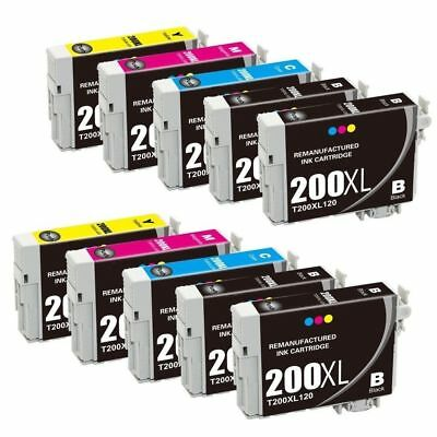 10 Pack Black & Color Ink Cartridges Set for 200XL 200XL fit Epson T200XL T200