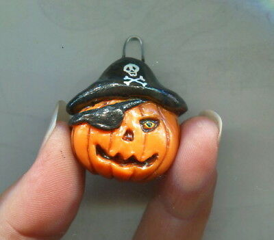 Halloween Pumpkin Pirate Charm Ornament Miniature Jack-o-lantern Sculpt Biel #10