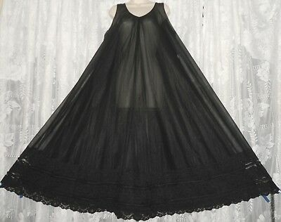 Vtg INTIME Double Layer Sheer Chiffon Nightgown Gown Negligee SIZE ALL