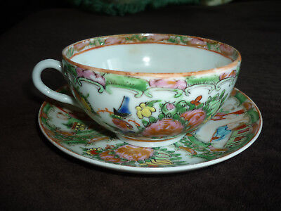 Famille Rose Medallion Cup & Saucer/ Hand Painted/ Early 1900's/ Display