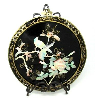 Vintage ASIAN BIRDS Black Lacquer and MOTHER OF PEARL Round Wood WALL HANGING