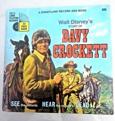 Vintage 1971 DAVY CROCKETT Disneyland Record and Book  Walt Disney SHIPS FREE