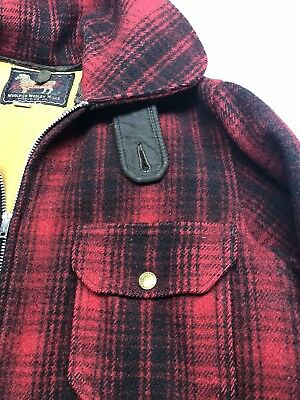 Vintage Woolrich Woolen Mills Mackinaw Buffalo Plaid Zippered Hunting Jacket 36