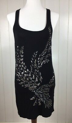 AX Armani Exchange Black Tank Top With Silver Sequins Women's Size XS Racer Back