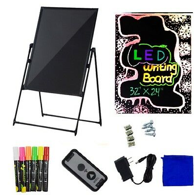 """32x24"""" Flash Illuminated Erasable Neon LED Standing Support Sign Writing Board"""