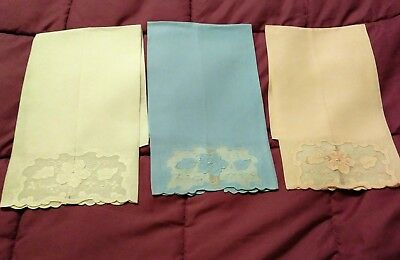 """3  Madeira Applique / Shadow Work Embroidered Linen Hand Towels 19"""" by 13"""""""