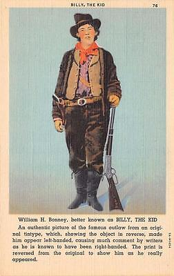 BILLY THE KID Famous Southwestern Outlaw William H Bonney Postcard ca 1940s